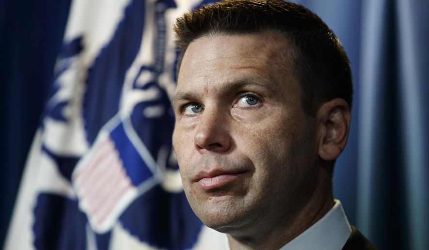 Department of Homeland Security (DHS) acting Secretary Kevin McAleenan pauses during a news conference in Washington, Friday, June 28, 2019. (AP Photo/Carolyn Kaster)
