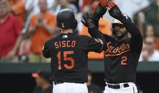 Baltimore Orioles' Jonathan Villar, right, congratulates Chance Sisco after Sisco hit a two-run home run against the Cleveland Indians in the first inning of a baseball game Friday, June 28, 2019, in Baltimore. (AP Photo/Gail Burton)