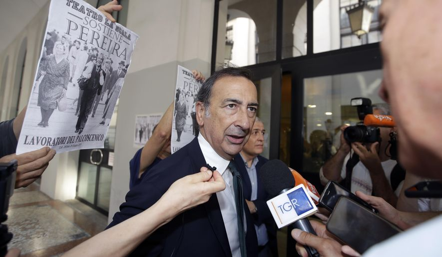 Milan mayor and chairman of La Scala board, Giuseppe Sala, arrives for a board of Italy's famed La Scala opera house in Milan, Italy, Friday, June 28, 2019. Milan's mayor announced last June 19 that the board of the famed La Scala opera house has agreed on a new general manager to succeed Austrian Alexander Pereira, whose money-making but sometimes troubled 5-year mandate expires in February. (AP Photo/Luca Bruno)
