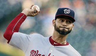 Washington Nationals' Anibal Sanchez (19) pitches against the Detroit Tigers during the second inning of a baseball game, Friday, June 28, 2019, in Detroit. (AP Photo/Duane Burleson) ** FILE **