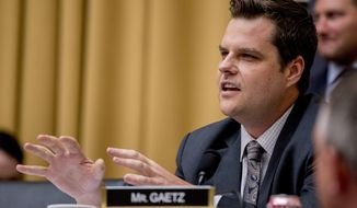 FILE - In this June 10, 2019 file photo, Rep. Matt Gaetz, R-Fla., questions former White House counsel for the Nixon Administration John Dean during a House Judiciary Committee hearing on the Mueller Report on Capitol Hill in Washington.  The House Ethics Committee is investigating whether Gaetz tried intimidating Michael Cohen before the former personal lawyer to President Donald Trump testified to Congress about Trump. (AP Photo/Andrew Harnik)
