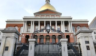 FILE - This Jan. 2, 2019 file photo shows the Massachusetts Statehouse in Boston.  As health insurance is becoming a key issue in the 2020 presidential contest, new data shows that more than two-thirds of Massachusetts businesses offered health plans to their employees.   (AP Photo/Elise Amendola)