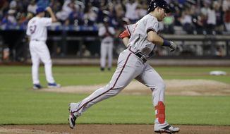 Atlanta Braves' Austin Riley, right, runs the bases after hitting a home run as New York Mets starting pitcher Seth Lugo, left, reacts during the eighth inning of a baseball game Saturday, June 29, 2019, in New York. (AP Photo/Frank Franklin II)