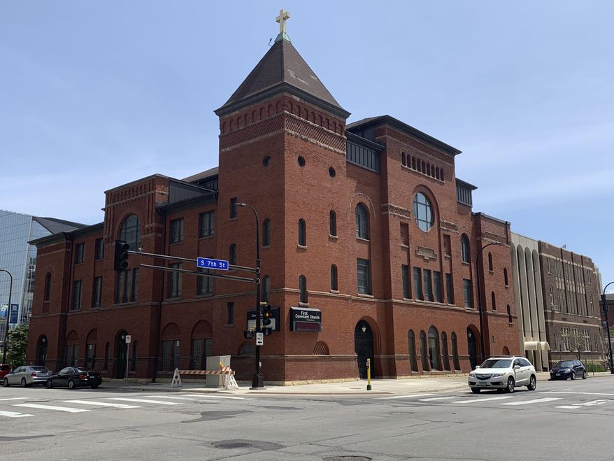 First Covenant Church is shown June 29, 2019, in downtown Minneapolis. Leaders of the Evangelical Covenant Church voted on June 28 to expel First Covenant and defrock its lead pastor, the Rev. Dan Collison, for permitting gay marriage. First Covenant was a founding member of the 134-year-old denomination. (AP Photo/Jeff Baenen)