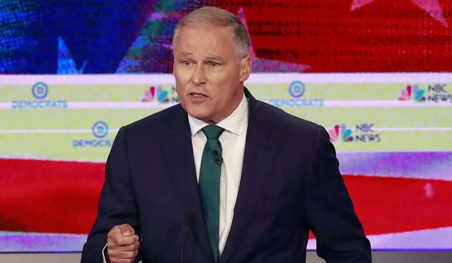 Democratic presidential candidate Washington Gov. Jay Inslee speaks during a Democratic primary debate hosted by NBC News at the Adrienne Arsht Center for the Performing Arts, Wednesday, June 26, 2019, in Miami. (AP Photo/Wilfredo Lee) ** FILE **