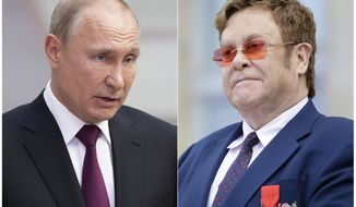 "This combination photo shows Russian President Vladimir Putin in Moscow, Russia, on June 20, 2019, left, and singer Elton John at a ceremony presenting him with the Legion of Honor at the presidential Elysee Palace in Paris. John is calling out Putin for saying that liberalism is ""obsolete"" and conflicts with the ""overwhelming majority"" in many countries. Putin made the comments in a story published by the Financial Times newspaper. (AP Photo/Alexander Zemlianichenko, left, Lewis Joly, Pool)"