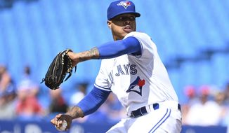 Toronto Blue Jays' Marcus Stroman pitches during first inning of a Major League baseball game against the Kansas City Royals, in Toronto, Saturday, June 29, 2019. (Jon Blacker/The Canadian Press via AP)