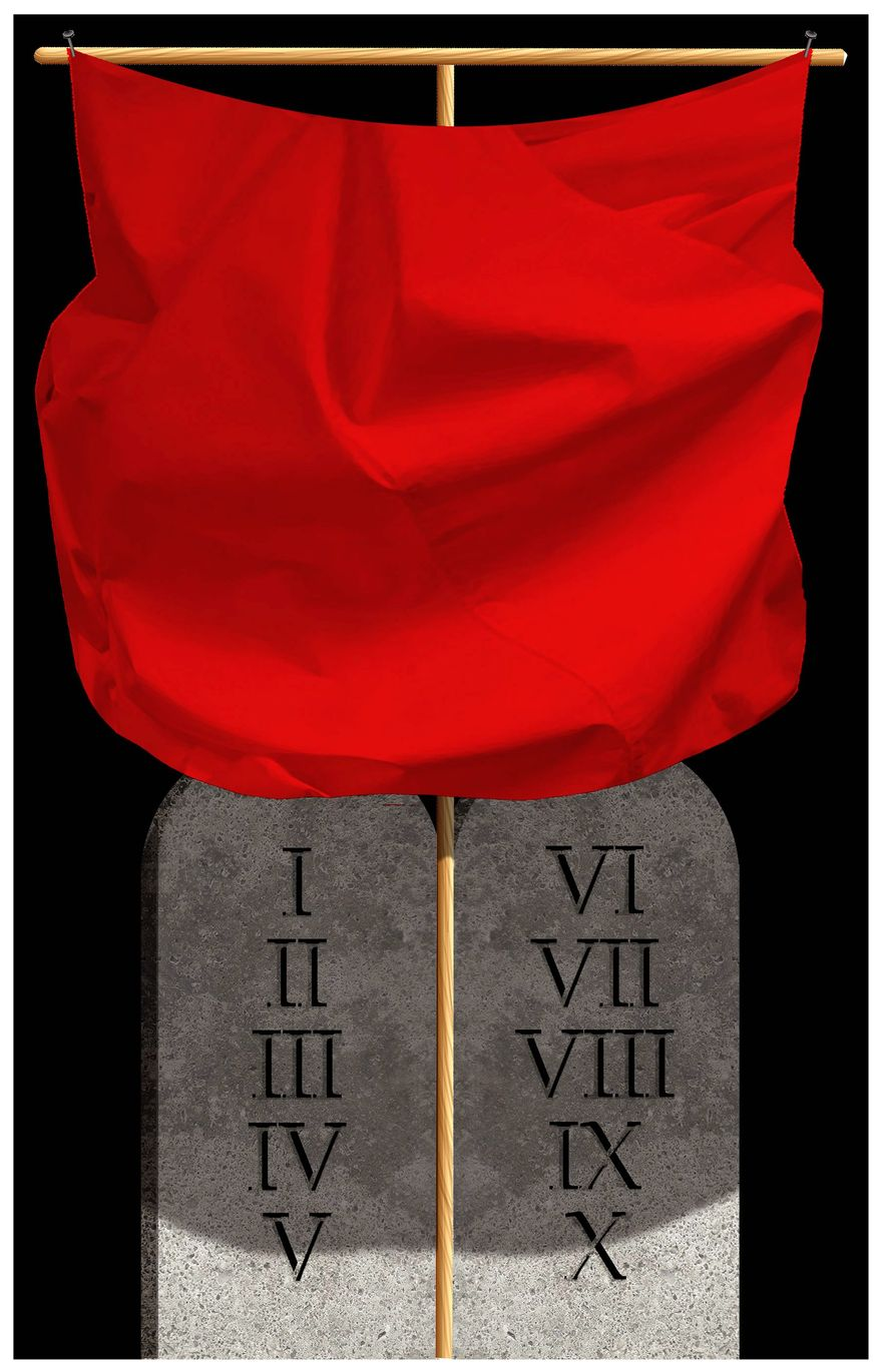 Illustration on socialism and the Ten Commandments by Alexander Hunter/The Washington Times