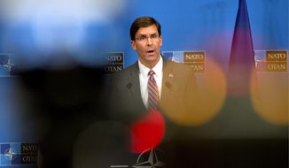 Mark T. Esper, who became acting defense secretary two weeks ago, will have to step down while he goes through the Senate confirmation process for a permanent position, meaning the Pentagon will have a fourth leader since the end of December. (Associated Press/File)