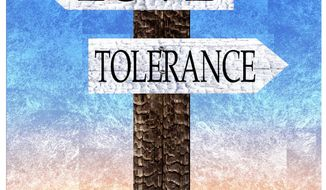 Illustration on love and tolerance by Alexander Hunter/The Washington Times