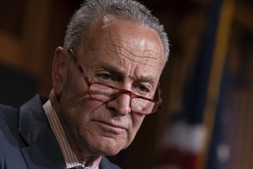 In this Tuesday, June 18, 2019, file photo, Senate Minority Leader Chuck Schumer, D-N.Y., talks to reporters at the Capitol in Washington. Schumer called on the U.S. government Sunday, June 30, to step up its efforts to investigate the deaths of Americans who traveled to the Dominican Republic and is asking the Bureau of Alcohol, Tobacco, Firearms and Explosives to get involved. (AP Photo/J. Scott Applewhite, File)