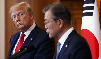 President Donald Trump (left) and South Korean President Moon Jae-in hold a press conference at Blue House in Seoul, South Korea, Sunday, June 30, 2019. (AP Photo/Jacquelyn Martin) **FILE**