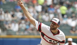 Chicago White Sox starting pitcher Lucas Giolito delivers during the first inning of a baseball game against the Minnesota Twins Sunday, June 30, 2019, in Chicago. (AP Photo/Jeff Haynes)