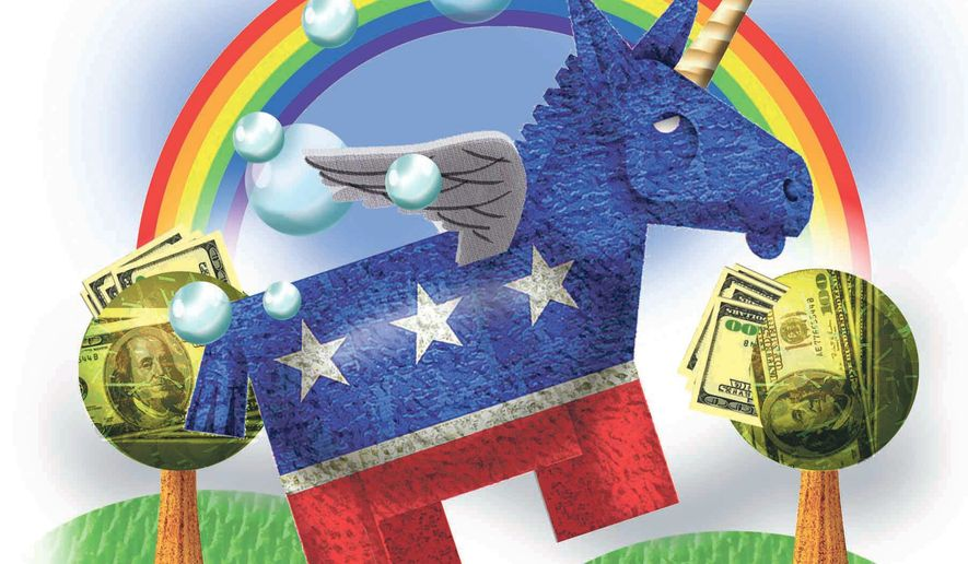 Illustration on Democratic fantasy by Alexander Hunter/The Washington Times