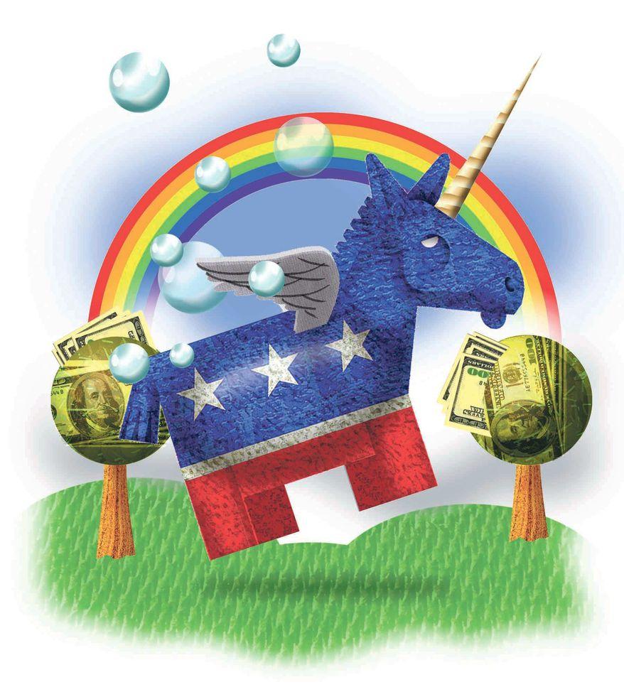 Illustration on Democratic fantasy by Alexander Hunter/The Washington Times