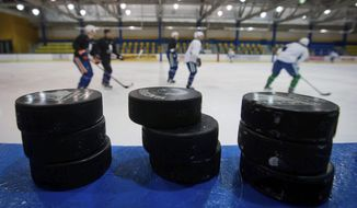 FILE - In this Jan. 9, 2013, file photo, hockey pucks are stacked on the boards as Vancouver Canucks players skate past during an informal NHL hockey practice at the University of British Columbia in Vancouver. NHL free agency day began with two rivals helping each other out of a jam by way of a trade. The Toronto Maple Leafs acquired defenseman Cody Ceci, a 2020 third-round pick and minor leaguers Ben Harpur and Aaron Luchuk from the Ottawa Senators for defenseman Nikita Zaitsev, forward Connor Brown and minor leaguer Michael Carcone. The teams announced the trade early Monday, July 1, 2019, roughly 3½ hours before the start of free agency. (AP Photo/The Canadian Press, Darryl Dyck, File)