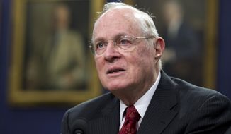 In this March 23, 2015, file photo, Anthony Kennedy testifies before a House Committee on Appropriations Subcommittee on Financial Services hearing on Capitol Hill in Washington. Retired Supreme Court Justice Kennedy has been named this year's recipient of the National Constitution Center's Liberty Medal. (AP Photo/Manuel Balce Ceneta, File)
