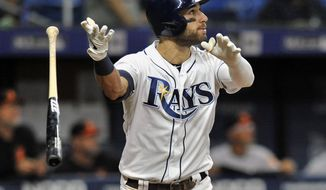Tampa Bay Rays' Kevin Kiermaier flips his bat as he watches his three-run home run off Baltimore Orioles reliever Branden Kline during the sixth inning of a baseball game Monday, July 1, 2019, in St. Petersburg, Fla. (AP Photo/Steve Nesius)