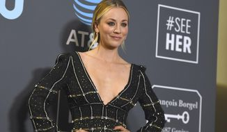 "In this Jan. 13, 2019, file photo, Kaley Cuoco poses in the press room at the 24th annual Critics' Choice Awards at the Barker Hangar in Santa Monica, Calif. Cuoco is making a big move after wrapping 12 seasons with ""The Big Bang Theory."" Warner Bros. Television Group said Monday, July 1, 2019, that Cuoco has signed an exclusive, multi-year deal with the company. (Photo by Jordan Strauss/Invision/AP, File) **FILE**"