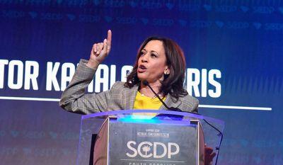 California Sen. Kamala Harris addresses the South Carolina Democratic Party's convention on Saturday, June 22, 2019, in Columbia, S.C. (AP Photo/Meg Kinnard) ** FILE **