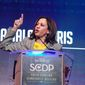 California Sen. Kamala Harris addresses the South Carolina Democratic Party's convention on Saturday, June 22, 2019, in Columbia, S.C. (AP Photo/Meg Kinnard) ** FILE **