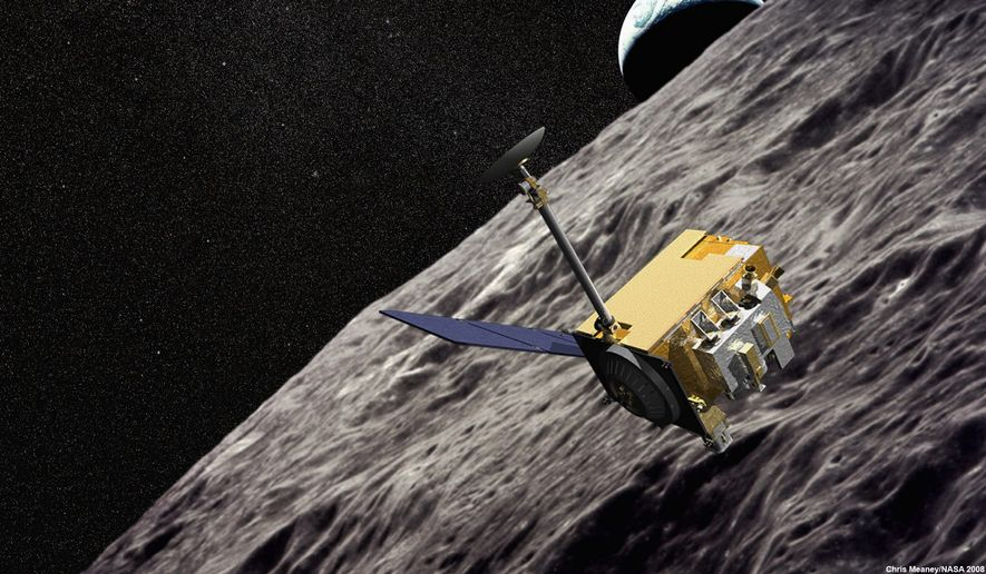 A digital illustration from NASA's Goddard Space Flight Center shows the Lunar Reconnaissance Orbiter mapping the moon. Astronomers say the process will help make their 2024 mission to the moon easier. (NASA)