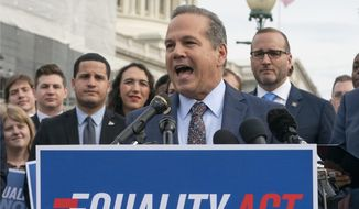 """FILE - In this May 17, 2019, file photo Rep. David Cicilline, D-R.I., speaks before a House vote on the """"Equality Act of 2019,"""" in Washington. Cicilline is now leading a House antitrust investigation into the market dominance of Facebook, Google, Amazon and Apple. (AP Photo/J. Scott Applewhite, File)"""