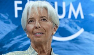 FILE - In this Thursday, Jan. 4, 2019 file photo, International Monetary Fund Managing Director Christine Lagarde, attends a session of the annual meeting of the World Economic Forum in Davos, Switzerland. European Union leaders on Tuesday, July 2, 2019, after a lengthy session of talks, have nominated Christine Lagarde as a candidate for the post of European Central Bank president. (AP Photo/Markus Schreiber, File)