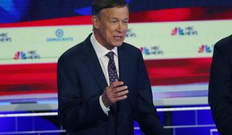 Democratic presidential candidate former Colorado Gov. John Hickenlooper speaks during the Democratic primary debate hosted by NBC News at the Adrienne Arsht Center for the Performing Art, Thursday, June 27, 2019, in Miami. (AP Photo/Wilfredo Lee)