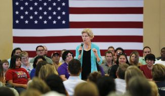Democratic presidential candidate Sen. Elizabeth Warren, D-Mass., speaks at a campaign event Tuesday, July 2, 2019, in Las Vegas. (AP Photo/John Locher)