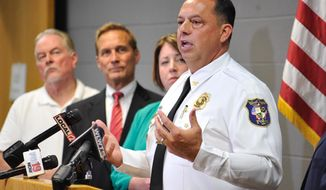 West Chester Police Chief Joel Herzog speaks during a West Chester police press conference, in West Chester, Ohio,Tuesday, July 2, 2019,  called to discuss update in quadruple homicide from April.  (Nicholas S. Graham//The Journal-News via AP)