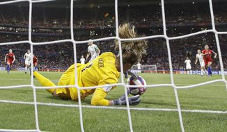 United States goalkeeper Alyssa Naeher saves a penalty shot taken by England's Steph Houghton during the Women's World Cup semifinal soccer match between England and the United States, at the Stade de Lyon, outside Lyon, France, Tuesday, July 2, 2019. (AP Photo/Alessandra Tarantino)