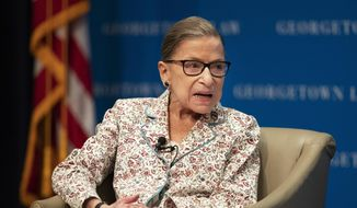 Supreme Court Associate Justice Ruth Bader Ginsburg speaks about her work and gender equality at the Georgetown University Law Center in Washington, Tuesday, July 2, 2019. (AP Photo/Manuel Balce Ceneta)