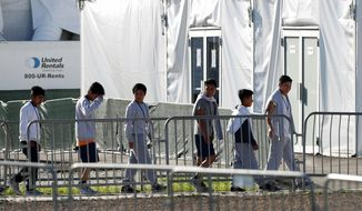 In this Feb.19, 2019, file photo, children line up to enter a tent at the Homestead Temporary Shelter for Unaccompanied Children in Homestead, Fla. (AP Photo/Wilfredo Lee, File)