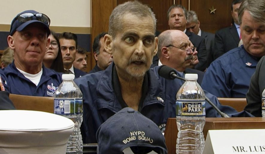 In this June 11, 2019, file image made from video, retired New York Police Detective and 9/11 responder, Luis Alvarez, speaks during a hearing by the House Judiciary Committee as it considers permanent authorization of the Victim Compensation Fund, on Capitol Hill in Washington. (US Network Pool via AP, Pool)