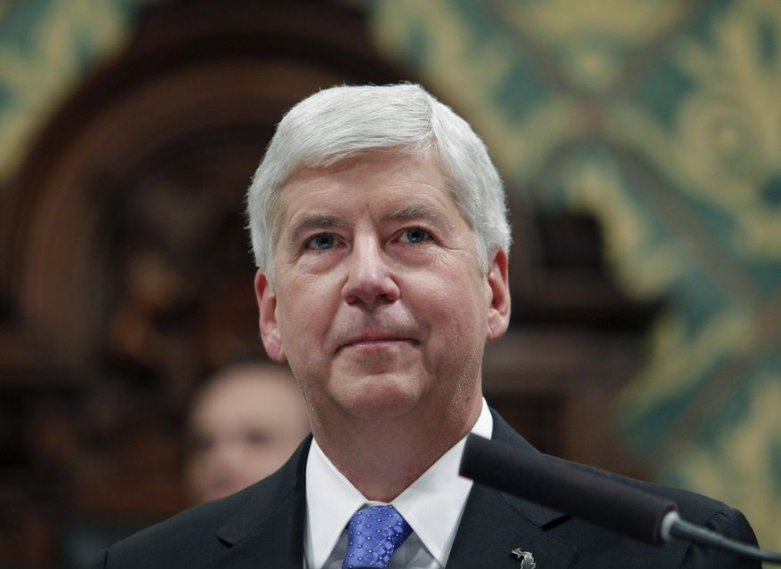 In this Jan. 23, 2018, file photo, former Michigan Gov. Rick Snyder delivers his State of the State address at the state Capitol in Lansing, Mich. Snyder says he has turned down a fellowship at Harvard University following social media backlash over his administration's role in the Flint water crisis. He tweeted Wednesday, July 3, 2019, that being a senior research fellow would have been too 'disruptive' because of 'our current political environment and its lack of civility.' (AP Photo/Al Goldis, File) **FILE**