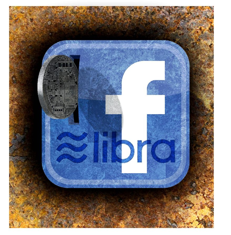Illustration on Facebook's Libra currency by Alecxander Hunter/The Washington Times