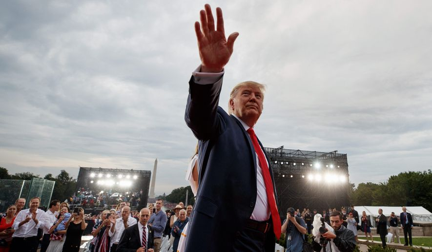 President Donald Trump waves to the crowd as he leaves an Independence Day celebration in front of the Lincoln Memorial, Thursday, July 4, 2019, in Washington. (AP Photo/Carolyn Kaster)