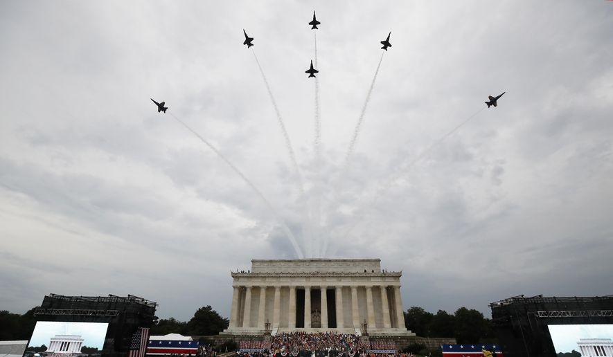President Donald Trump, first lady Melania Trump, Vice President Mike Pence and Karen Pence and others stand as the US Army Band performs and the US Navy Blue Angels flyover at the end of an Independence Day celebration in front of the Lincoln Memorial, Thursday, July 4, 2019, in Washington. (AP Photo/Alex Brandon)