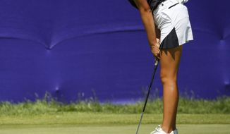 Yealimi Noh reacts to a putt during the first round of the Thornberry Creek LPGA Classic golf tournament Thursday, July 4, 2019, in Oneida, Wis. (Chris Kohley/The Post-Crescent via AP)