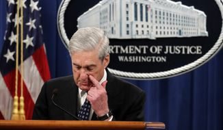 Special counsel Robert Mueller speaks at the Department of Justice Wednesday, May 29, 2019, in Washington, about the Russia investigation. (AP Photo/Carolyn Kaster)