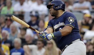 Milwaukee Brewers' Jesus Aguilar drives in a run with an RBI single off Pittsburgh Pirates starting pitcher Steven Brault during the fourth inning of a baseball game in Pittsburgh, Friday, July 5, 2019. (AP Photo/Gene J. Puskar)