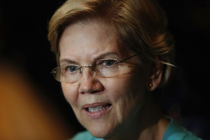 Democratic presidential candidate Sen. Elizabeth Warren, D-Mass., speaks during a Chicago Town Hall event at Chicago's Auditorium Theatre at Roosevelt University, Friday, June 28, 2019. (AP Photo/Amr Alfiky) ** FILE **