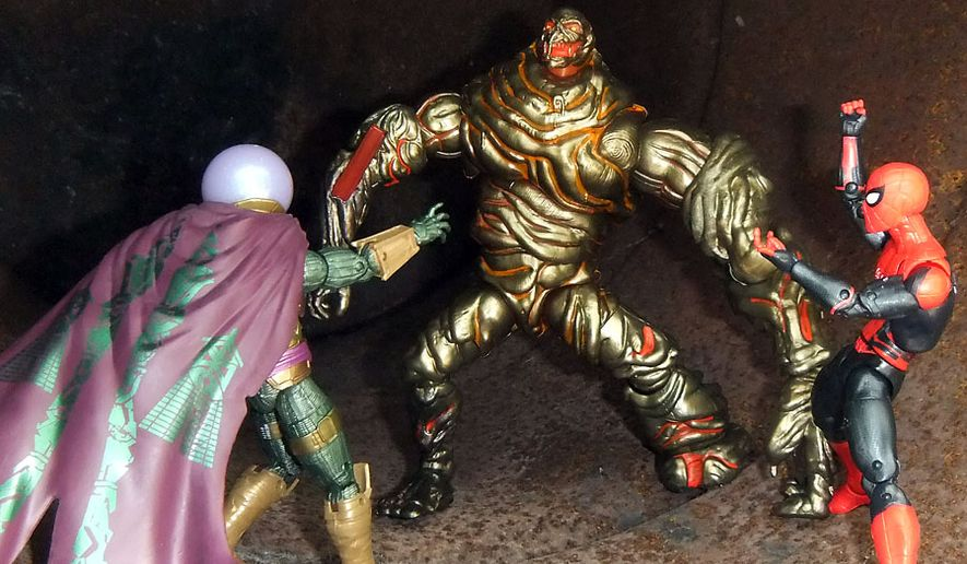 """Hasbro's Marvel Legends: """"Spider-Man: Far From Home"""" figures include Mysterio, Spider-Man and Molten Man (Photograph by Joseph Szadkowski / The Washington Times)"""