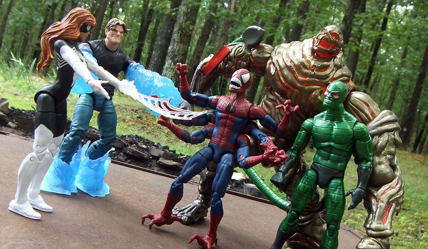 Hasbro's latest Marvel Legends: Spider-Man collection includes Spider-Woman, Hydro-Man, Doppelganger, Scorpion and Molten Man (Photograph by Joseph Szadkowski / The Washington Times)