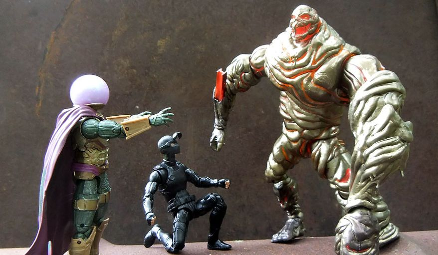 """Hasbro's Marvel Legends: """"Spider-Man: Far From Home"""" figures include Mysterio, Spider-Man (Stealth Suit) and Molten Man (Photograph by Joseph Szadkowski / The Washington Times)"""