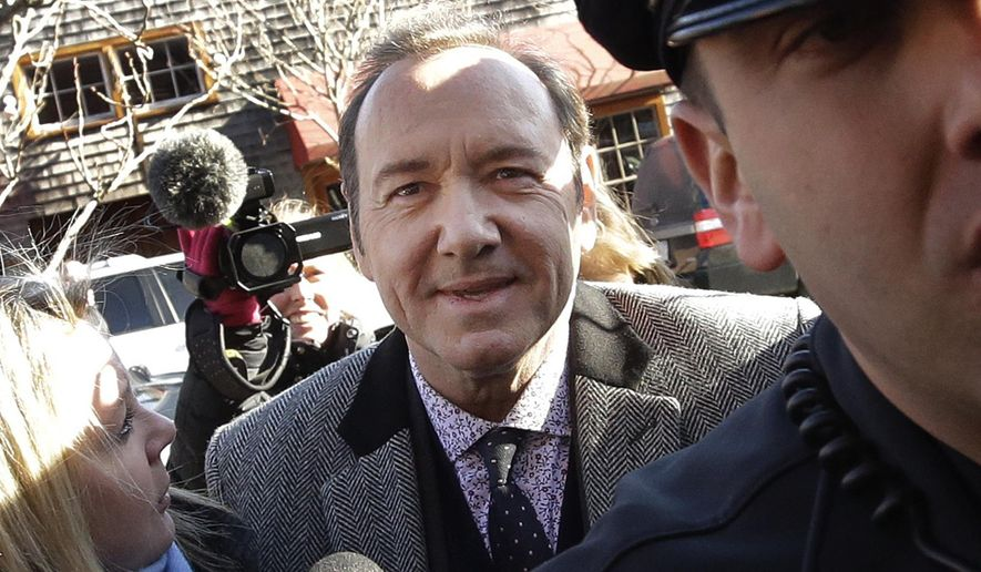 FILE - In this Jan. 7, 2019 file photo, actor Kevin Spacey arrives at district court in Nantucket, Mass. A young man who says Kevin Spacey groped him in a Nantucket bar in 2016 has dropped his lawsuit against the Oscar-winning actor. Mitchell Garabedian, an attorney for the man, announced in an email Friday, July 5,  that the suit filed June 26 in Nantucket Superior Court has been voluntarily dismissed.(AP Photo/Steven Senne)