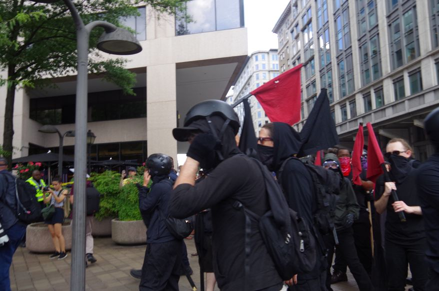 Protesters clash with police as antifa tries to rush the police line into the Demand Free Speech Rally in downtown Washington, D.C., on July 6, 2019. (Moss Brennan/The Washington Times) ** FILE **