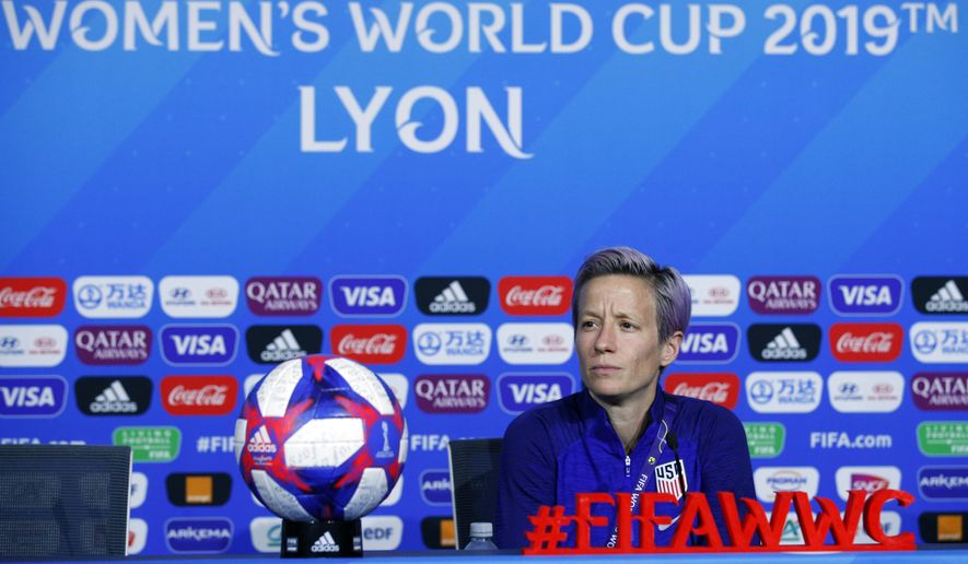 United States' Megan Rapinoe attends a press conference at the Stade de Lyon, outside Lyon, France, Saturday, July 6, 2019. US will face Netherlands in a Women's World Cup final match Sunday in Lyon. (AP Photo/Francois Mori)