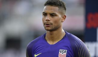 FILE - In this June 5, 2019 file photo, United States goalkeeper Zack Steffen (1) stands on the field before an international friendly soccer match against Jamaica, in Washington.  The U.S. men's soccer tries to win a trophy on Sunday, July 7,  when they face Mexico at Soldier Field in the final of the CONCACAF Gold Cup, the championship of North and Central America and the Caribbean.  (AP Photo/Nick Wass, File)